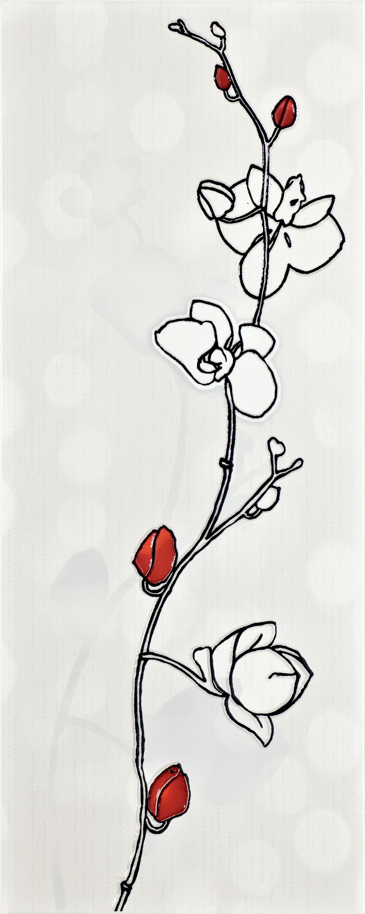 12a Dekoor Ikaria white rose A WD222-002 20x50 - Hansas Plaadimaailm