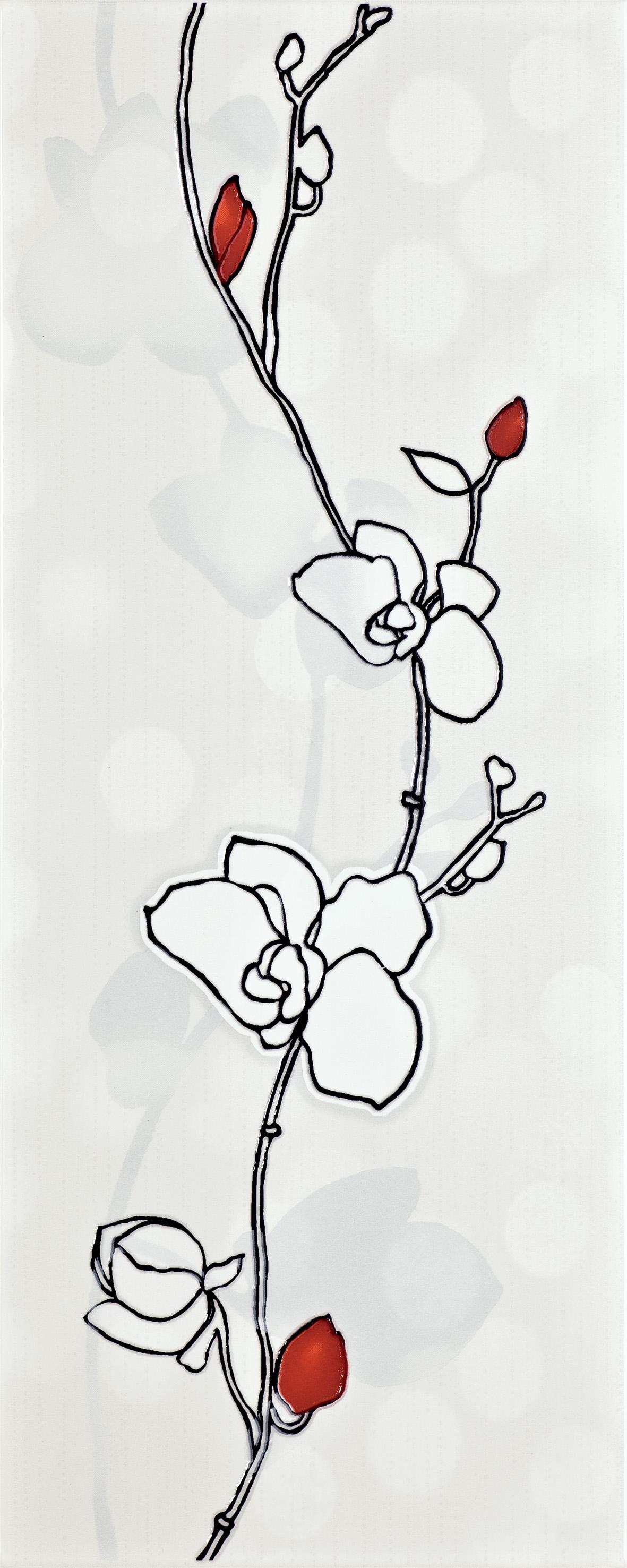 12b Dekoor Ikaria white rose B WD222-003 20x50 - Hansas Plaadimaailm