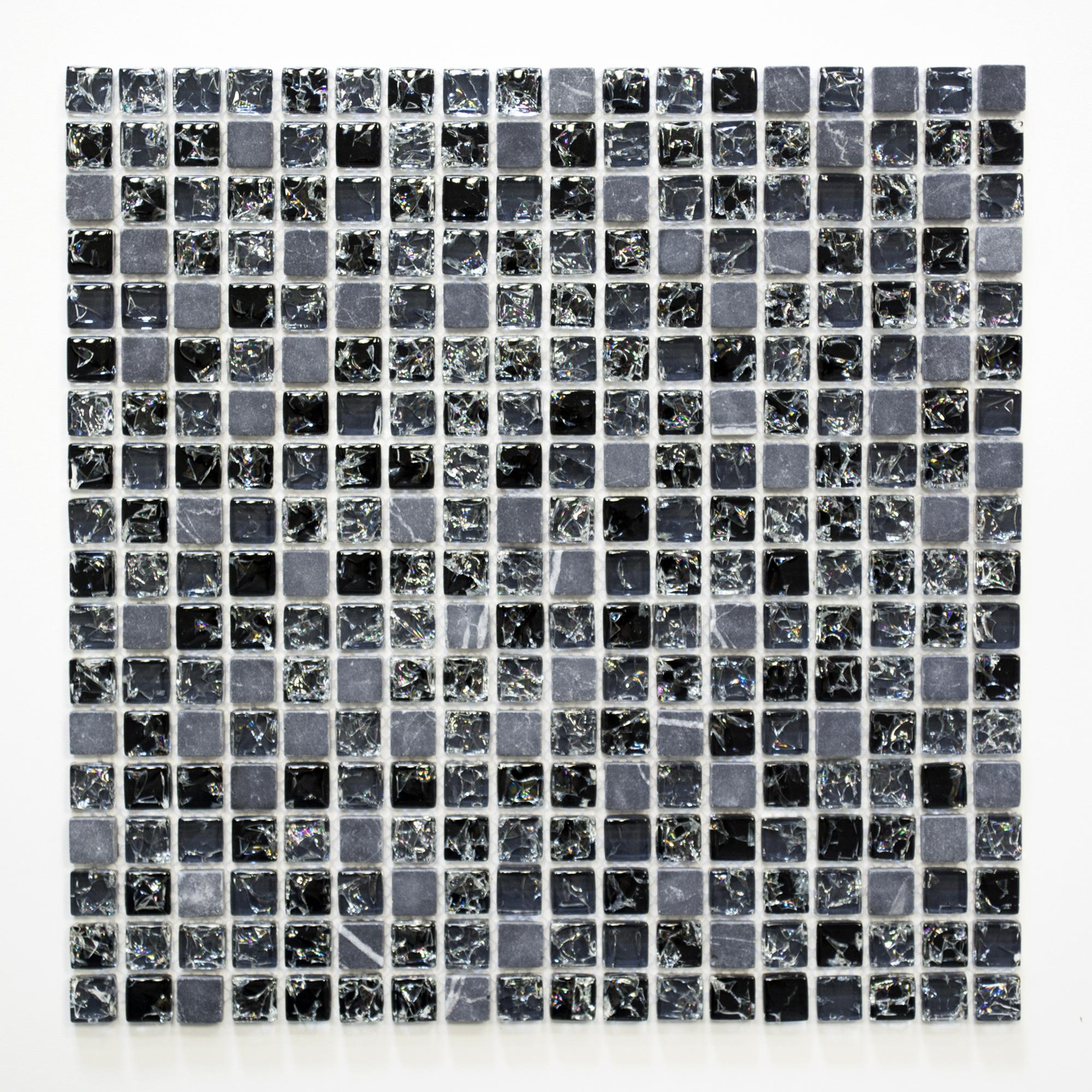 Mosaiik XIC1028 Crystal/Stein mix schwarz 15x15x8mm - Hansas Plaadimaailm