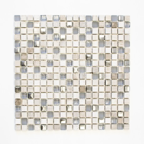 Mo 220 Quadrat Crystal Stein hellgrau-silber XCM HQ10 15x15x8mm - Hansas Plaadimaailm