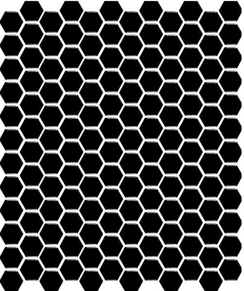 HEXAGON BLACK MATT small HU0003 R10 23x26mm - Hansas Plaadimaailm