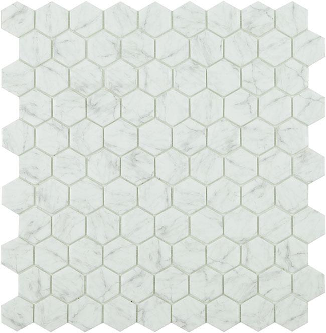 Mosaiik Carrara grey hex HX 4300 35x35x5mm (317x307mm) - Hansas Plaadimaailm